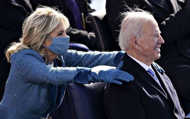 PHOTO: First Lady Jill Biden places her hands on President Joe Biden during the 59th Presidential Inauguration in Washington, Jan. 20, 2021. (Kevin Dietsch/Reuters)