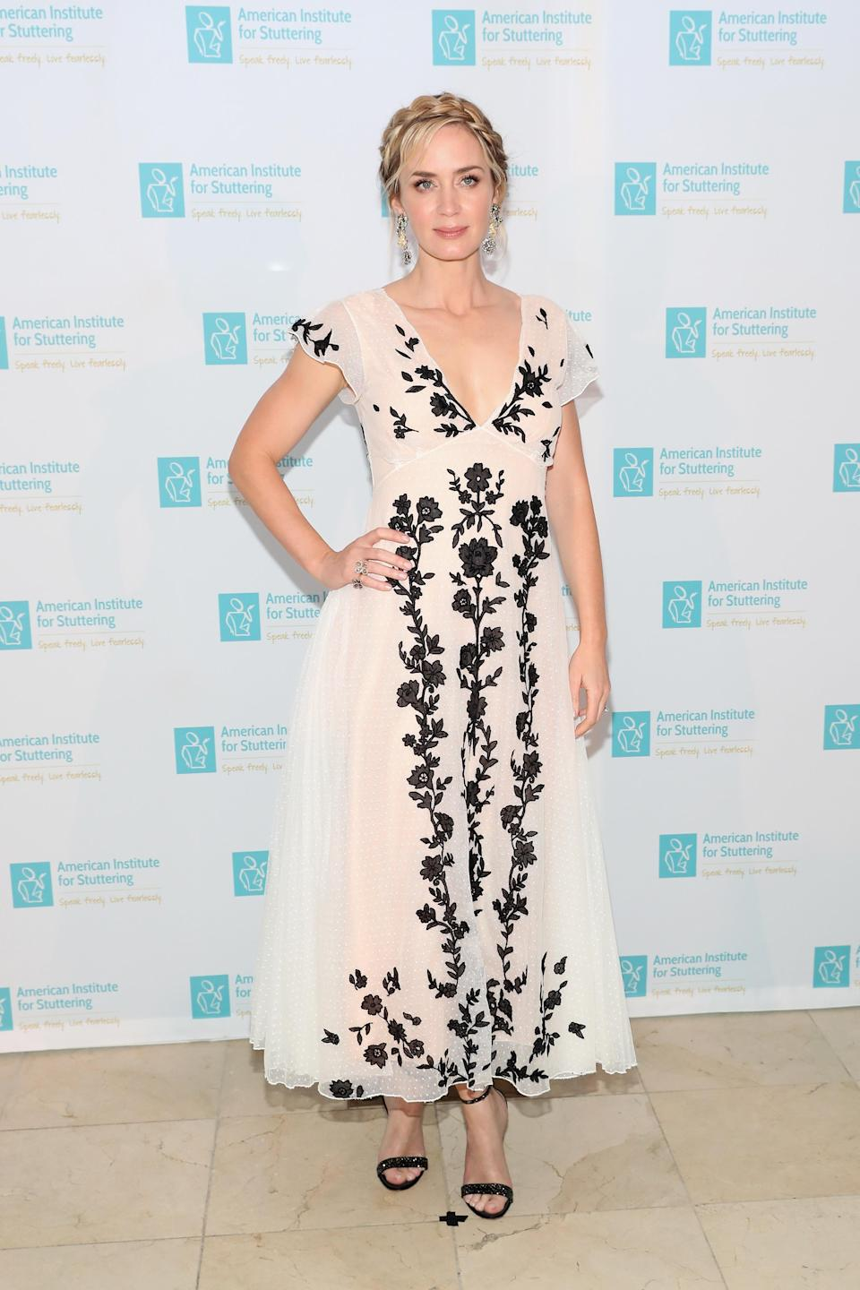 <p>On 9 July, Emily Blunt wore a Christian Dior dress to the 2018 Freeing Voices Changing Lives Benefit Gala. The actress accessorised the evening look with shoes by Gianvito Rossi and Lorraine Schwartz jewellery. <em>[Photo: Getty]</em> </p>