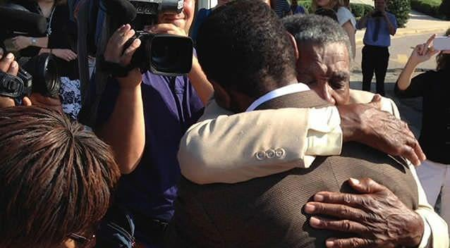 McCollum greeted family upon his release. Picture: AP