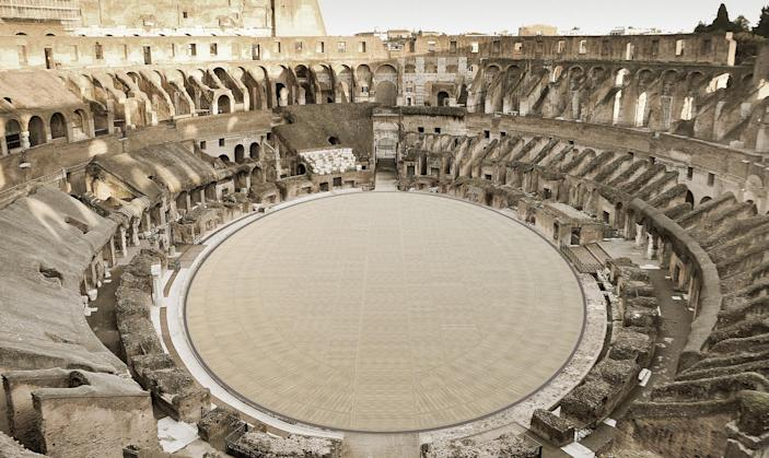 Image: The ancient Colosseum in Rome is getting a high-tech new floor with slats that can both tilt and retract, Italy's Culture Ministry announced. (Dario Franceschini)