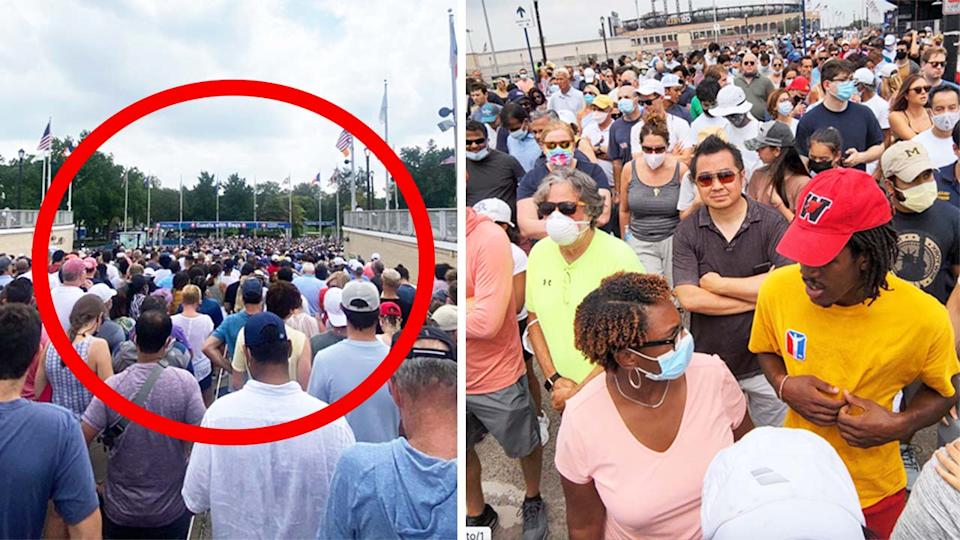 Fans lined up for hours (pictured left) at the US Open in horrendous heat (pictured right) due to new Covid-19 security measures at the US Open.