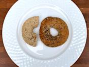 <p>3/4 of a bagel</p>