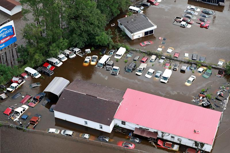 Cars sit in floodwater in Lumberton.
