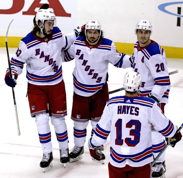 New York Rangers' Mats Zuccarello (36) celebrates his goal during the first period of an NHL hockey game against the Pittsburgh Penguins in Pittsburgh, Sunday, Feb. 17, 2019. (AP Photo/Gene J. Puskar)
