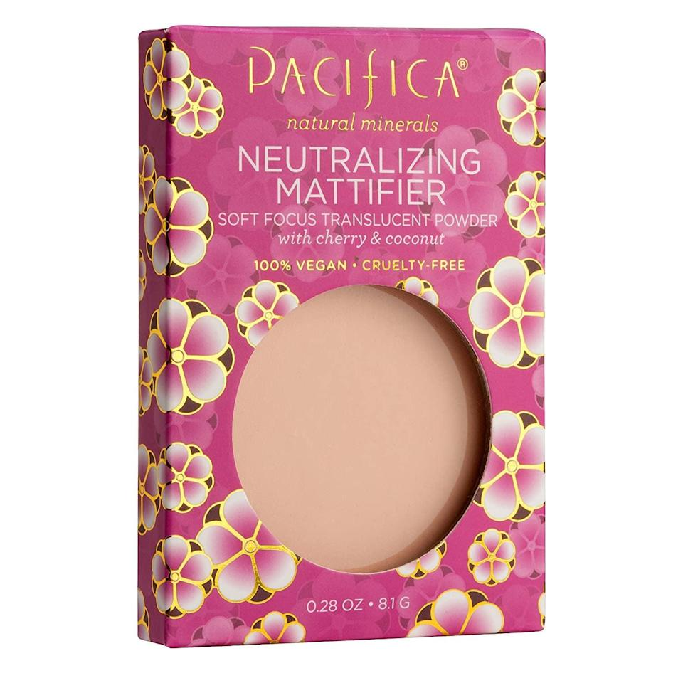 "<p><a href=""https://www.popsugar.com/buy/Pacifica-Beauty-Cherry-Powder-Neutralizing-Mattifier-563636?p_name=Pacifica%20Beauty%20Cherry%20Powder%20Neutralizing%20Mattifier&retailer=amazon.com&pid=563636&price=12&evar1=bella%3Aus&evar9=47373452&evar98=https%3A%2F%2Fwww.popsugar.com%2Fbeauty%2Fphoto-gallery%2F47373452%2Fimage%2F47373459%2FThis-Neutralizing-Mattifier&list1=amazon%2Cvegan%20beauty&prop13=api&pdata=1"" class=""link rapid-noclick-resp"" rel=""nofollow noopener"" target=""_blank"" data-ylk=""slk:Pacifica Beauty Cherry Powder Neutralizing Mattifier"">Pacifica Beauty Cherry Powder Neutralizing Mattifier</a> ($12) is infused with cherry and coconut to help set your foundation and keep shine at bay.</p>"