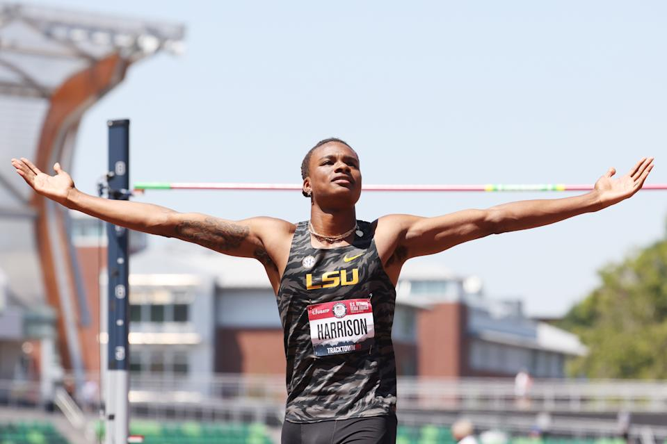 EUGENE, OREGON - JUNE 27: JuVaughn Harrison reacts as he competes in the Men's High Jump final during day ten of the 2020 U.S. Olympic Track & Field Team Trials at Hayward Field on June 27, 2021 in Eugene, Oregon. (Photo by Andy Lyons/Getty Images)