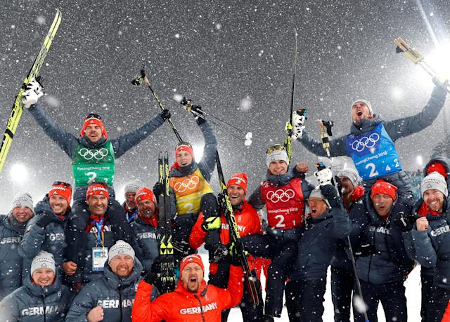 Nordic Combined Events - Pyeongchang 2018 Winter Olympics - Men's Team 4 x 5 km Final - Alpensia Cross-Country Skiing Centre - Pyeongchang, South Korea - February 22, 2018 - The German team celebrate their win. REUTERS/Kai Pfaffenbach TPX IMAGES OF THE DAY