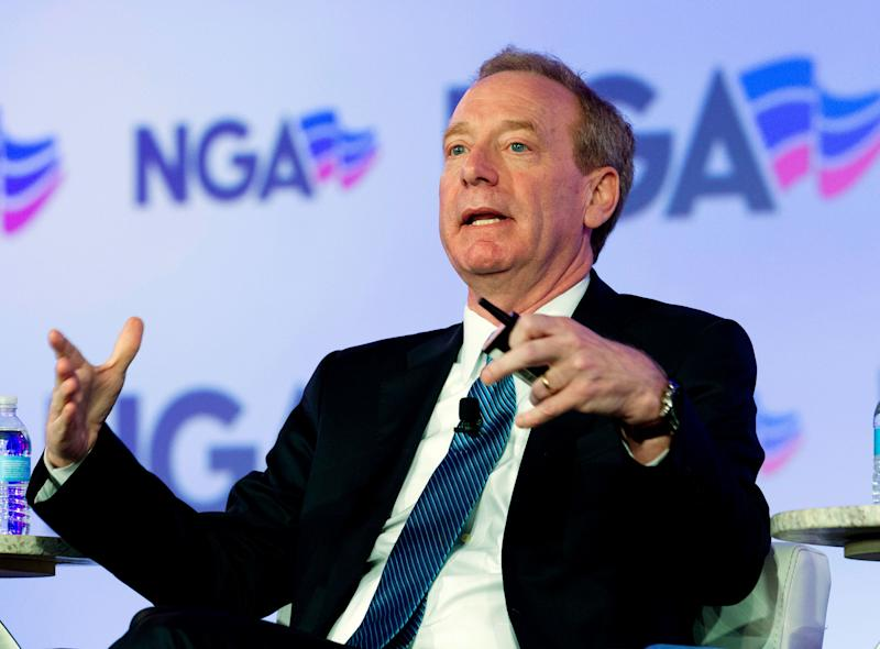 FILE - In this Feb. 25, 2018, file photo, Microsoft President Brad Smith speaks during the panel Economic Development at the National Governor Association 2018 winter meeting in Washington. Microsoft is turning to a former rival to improve the security of computing devices. Microsoft President Brad Smith said Monday, April 16, at the RSA security conference in San Francisco that the company will use software based on the Linux operating system, not its own Windows operating system, for new security features to protect internet-connected toys and other consumer devices. (AP Photo/Jose Luis Magana, File)