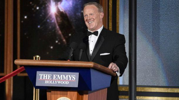 PHOTO: Sean Spicer speaks at the 69th Primetime Emmy Awards, Sept. 17, 2017, at the Microsoft Theater in Los Angeles. (Chris Pizzello/Invision/AP)