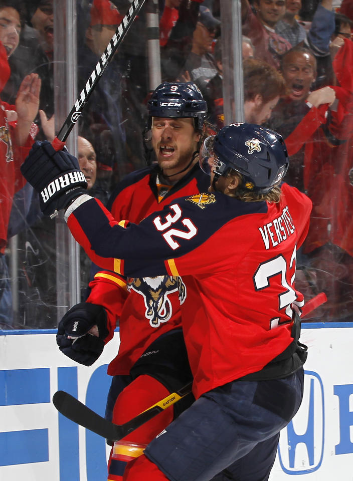 SUNRISE, FL - APRIL 15: Stephen Weiss #9 is congratulated by Kris Versteeg #32 of the Florida Panthers after he scored a first period goal against the New Jersey Devils in Game Two of the Eastern Conference Quarterfinals during the 2012 NHL Stanley Cup Playoffs at the BankAtlantic Center on April 15, 2012  in Sunrise, Florida. (Photo by Joel Auerbach/Getty Images)