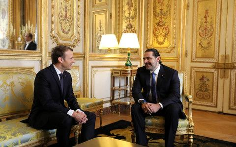 French President Emmanuel Macron and Saad al-Hariri, attend a meeting the Elysee Palace in Paris - Credit: REUTERS