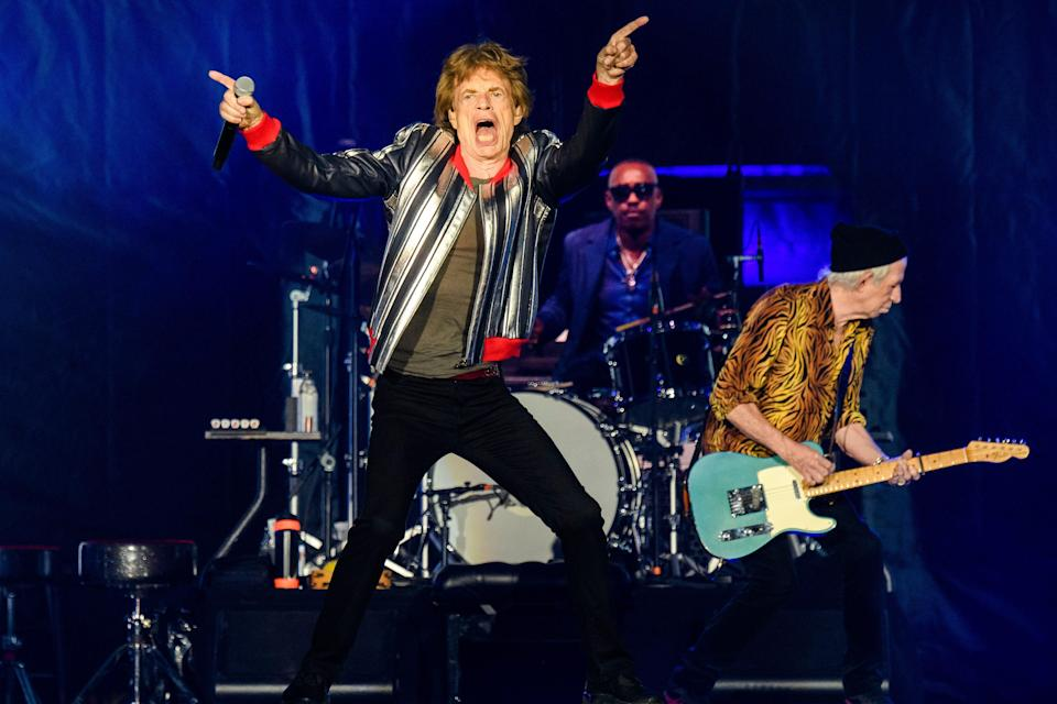 """Mick Jagger, from left, Steve Jordan and Keith Richards of the Rolling Stones perform during the """"No Filter"""" tour at The Dome at America's Center, Sunday, Sept. 26, 2021, in St. Louis. ("""