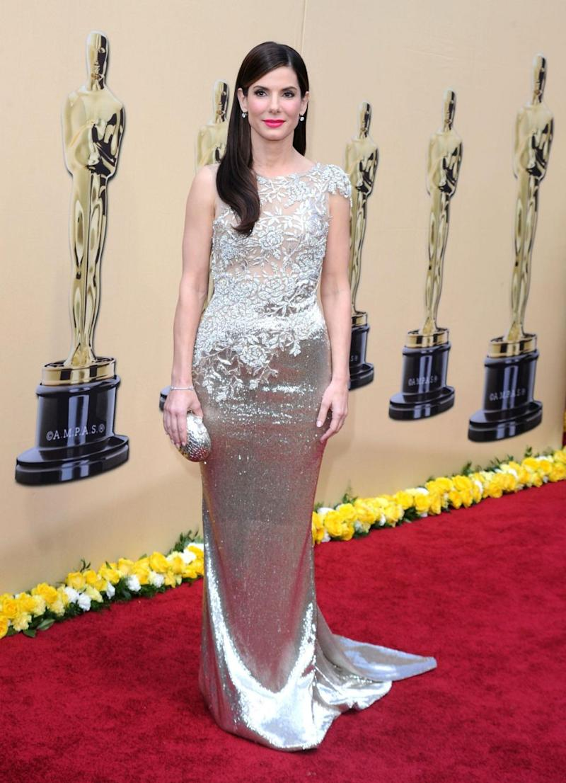 Sandra Bullock wore a Marchesa design on the red carpet. Photo: Getty Images