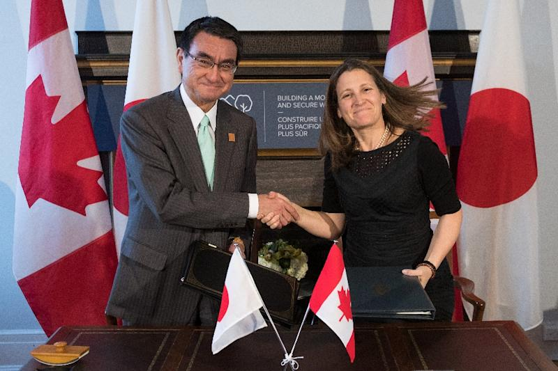 Canada's Minister of Foreign Affairs Chrystia Freeland, seen here with Japanese Foreign Minister Taro Kono, will host all of her G7 colleagues plus the European Union's representative at a working lunch to discuss the crisis in Russia and Ukraine