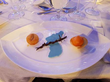 The dessert served at the Winter Olympics reception is pictured in Pyeongchang