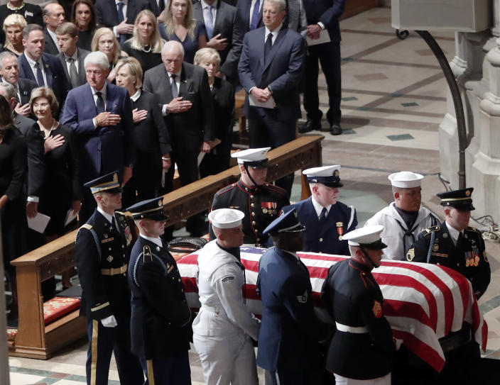 "<span class=""s1"">At Washington National Cathedral, former presidents pay homage as John McCain takes his place in history. (Photo: Pablo Martinez Monsivais/AP)</span>"