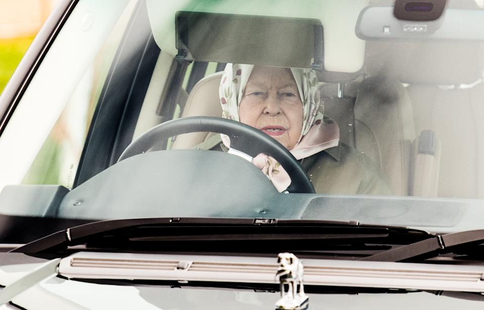 WINDSOR, ENGLAND - MAY 10: Queen Elizabeth II drives a Range Rover as she attends the Royal Windsor Horse Show 2019 on May 10, 2019 in Windsor, England. (Photo by Samir Hussein/Samir Hussein/WireImage)