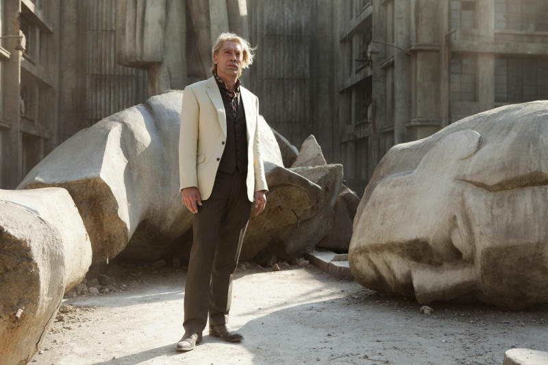 """FILE - This publicity film image released by Sony Pictures shows Javier Bardem in a scene from the film """"Skyfall."""" Bardem portrays, Raoul Silva, one of the finest arch-enemies in the 50-year history of Bond films. (AP Photo/Sony Pictures, Francois Duhamel, File)"""