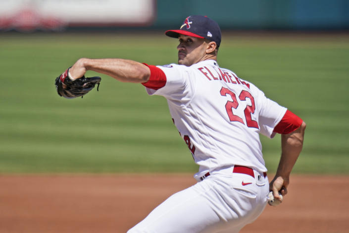 St. Louis Cardinals starting pitcher Jack Flaherty throws during the fifth inning of a baseball game against the Cincinnati Reds Sunday, April 25, 2021, in St. Louis. (AP Photo/Jeff Roberson)