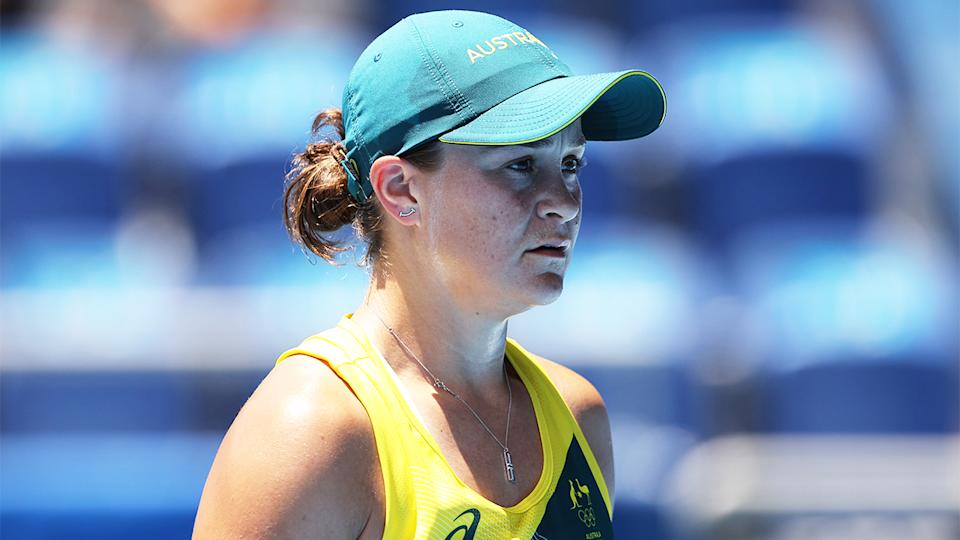 Ash Barty (pictured) has been knocked out of the Tokyo Olympic Games after a wild upset in the First Round. (Getty Images)