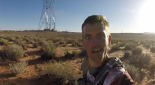 Jesse Weber as he sets of on a 50-mile marathon. Photo: Youtube/ Jesse Weber