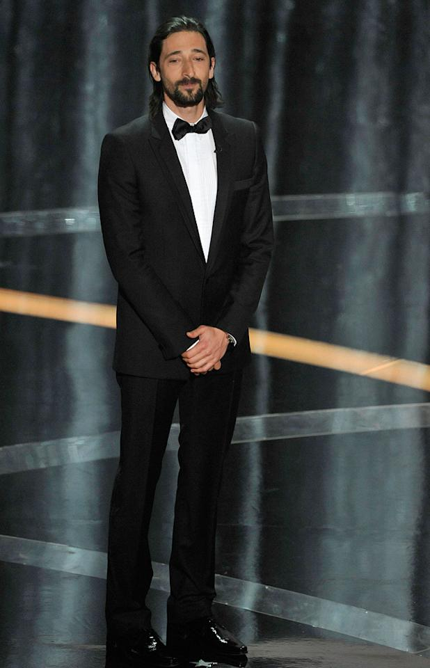 Adrien Brody   Grade: D-       The former Best Actor winner sported a greasy mullet and clearly didn't bother to shave.
