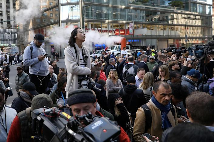 <p>Members of the public and media are pictured outside the Time Warner Center in the Manhattan borough of New York City after a suspicious package was found inside the CNN Headquarters in New York, Oct. 24, 2018. (Photo: Kevin Coombs/Reuters) </p>
