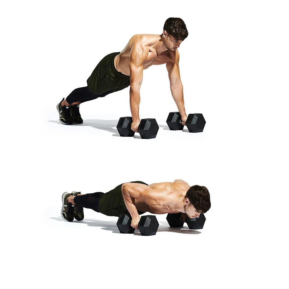 <p>Time to drop and finish strong. Set up in a high plank position, with your hands on the weights beneath your shoulders (<strong>A</strong>). Lower towards the floor (<strong>B</strong>). Contract your chest and triceps to push up. Finish your reps for one round. Go all-out for more.</p>