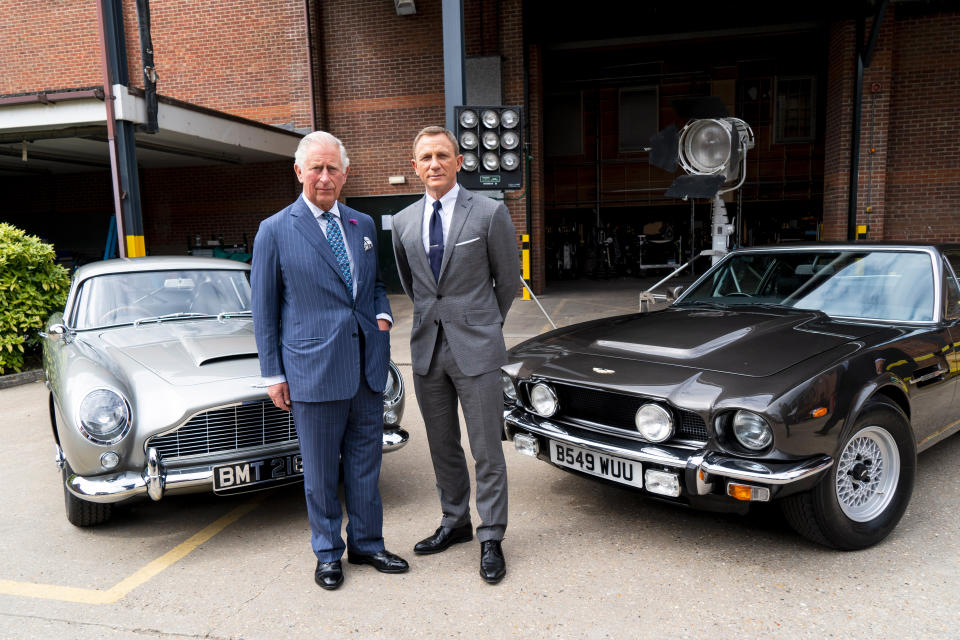IVER HEATH, ENGLAND - JUNE 20: Prince Charles, Prince of Wales poses with British actor Daniel Craig as he tours the set of the 25th James Bond Film at Pinewood Studios on June 20, 2019 in Iver Heath, England. The Prince of Wales, Patron, The British Film Institute and Royal Patron, the Intelligence Services toured the set of the 25th James Bond Film to celebrate the contribution the franchise has made to the British film industry. (Photo by Niklas Halle'n - WPA Pool/Getty Images)