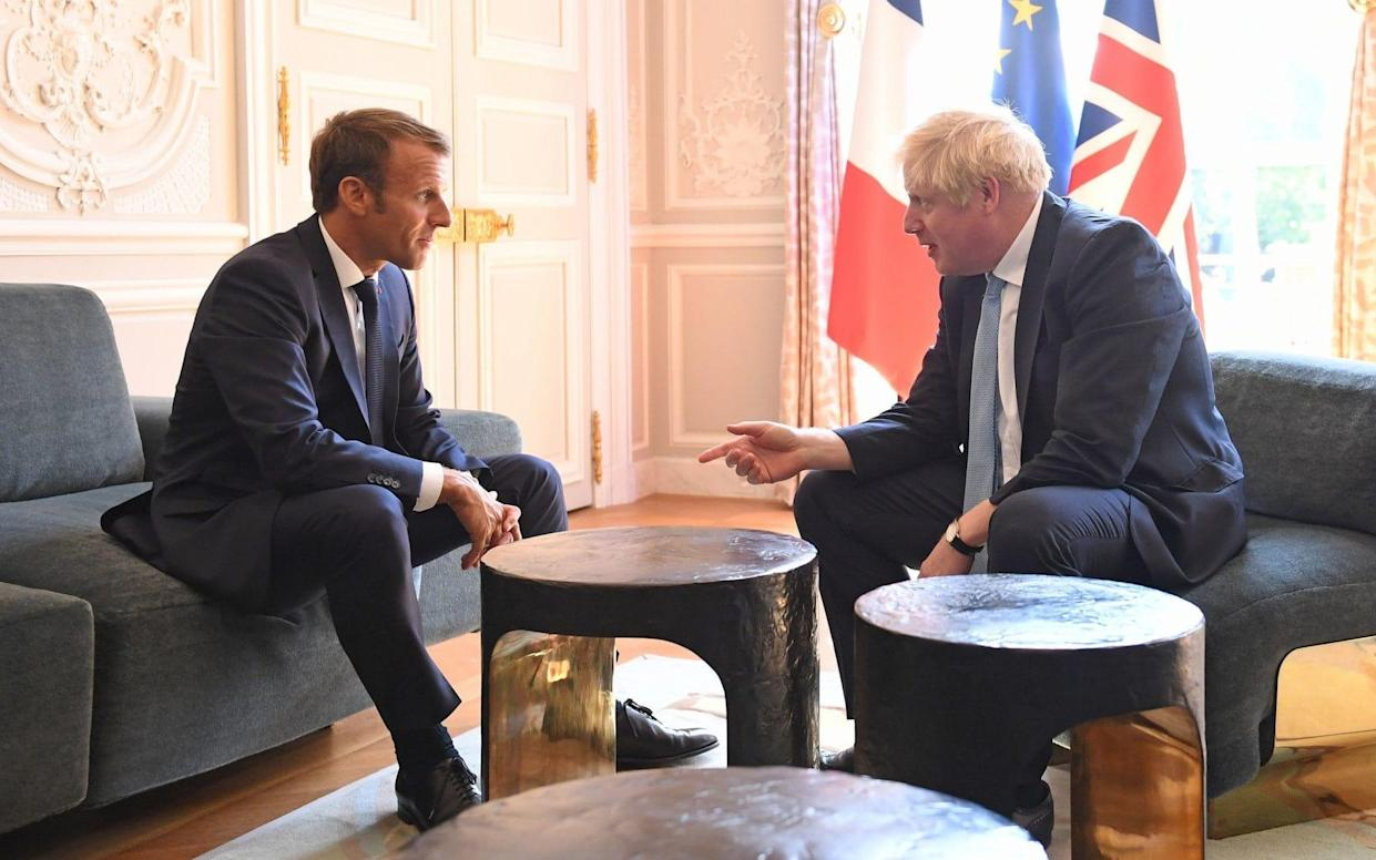 Prime Minister Boris Johnson meets French President Emmanuel Macron at the Elysee Palace in Paris ahead of talks to try to break the Brexit deadlock - PA