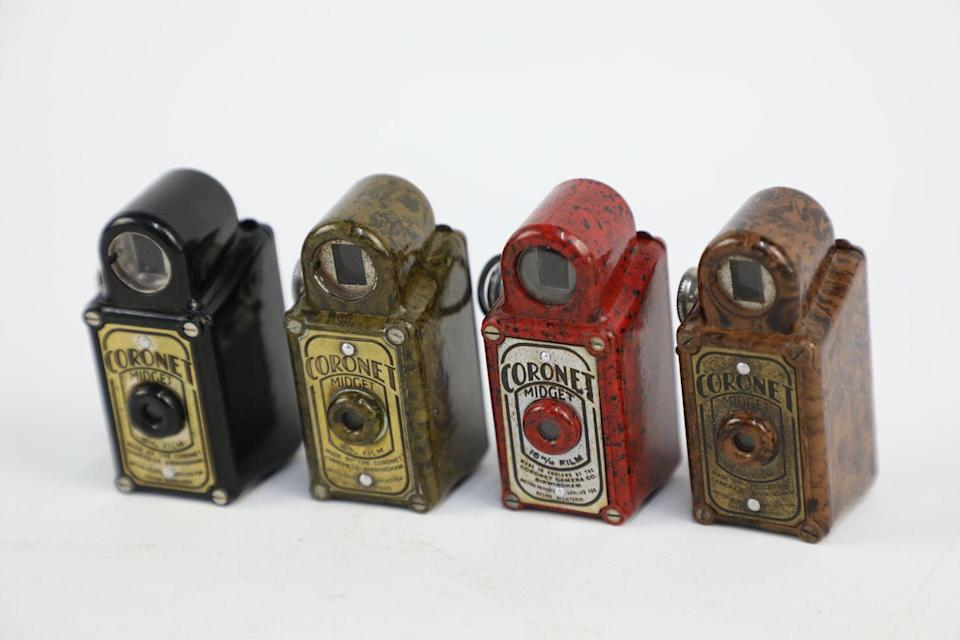 <p>'Quite literally the smallest camera ever seen, these were made in the 1930s and 40s and were offered as free gifts with cereal,' say Vintage Cash Cow. 'Taking a 16mm film and with a bakelite body, these are not just a novelty item but a fully functioning camera.</p><p>'They may have originated as a free gift but they are now highly collectible in the camera world and can be worth £100 a pop.'</p>