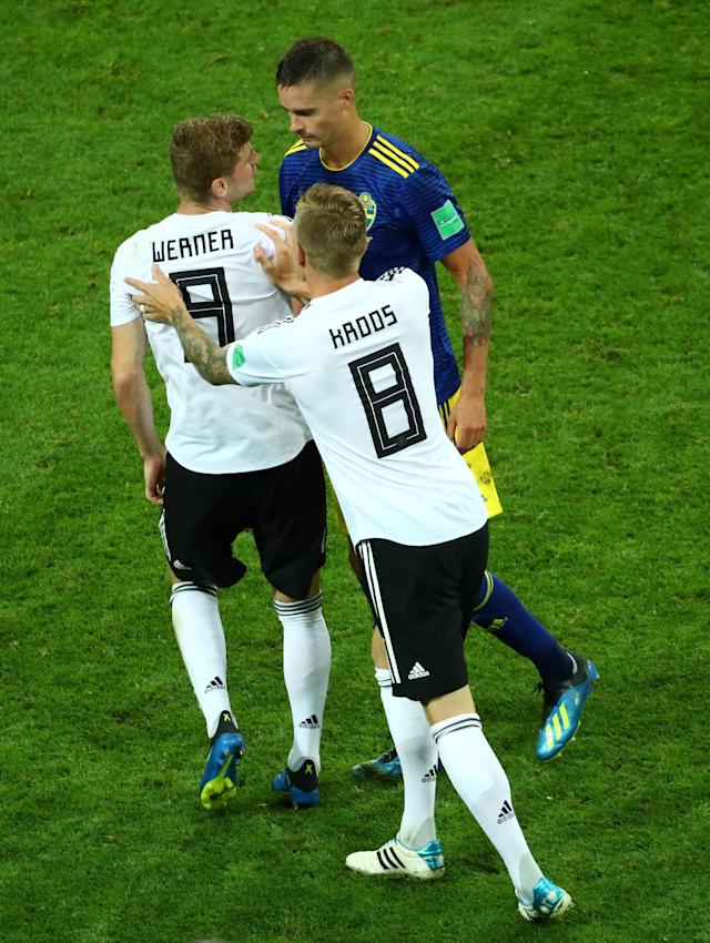 Soccer Football - World Cup - Group F - Germany vs Sweden - Fisht Stadium, Sochi, Russia - June 23, 2018 Germany's Timo Werner clashes with Sweden's Mikael Lustig REUTERS/Hannah McKay