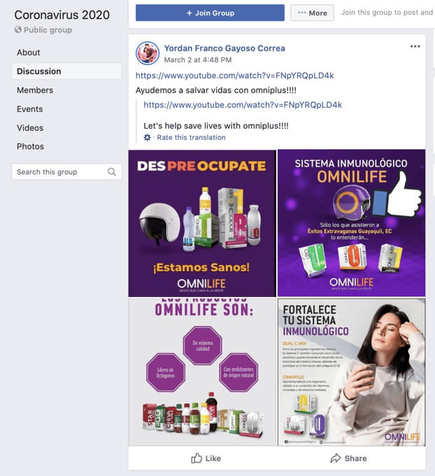 Products being advertised on a coronavirus Facebook page, suggesting that these products can help prevent COVID-19. (Facebook)