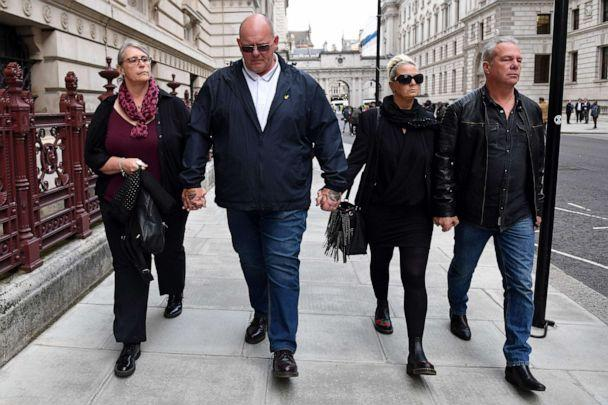 PHOTO: Charlotte Charles (2R) and Tim Dunn, (2L), parents of teenage motorcyclist Harry Dunn who was killed in a collision with a car, leave after a meeting with Britain's Foreign Secretary and First Secretary of State in London, Oct. 9, 2019. (Daniel Leal-Olivas/AFP/Getty Images, FILE)
