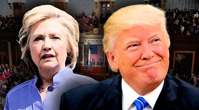 Hillary Clinton and Donald Trump. (Photo illustration: Yahoo News; photos: AP (2), Jonathan Newton/Washington Post via Getty Images.