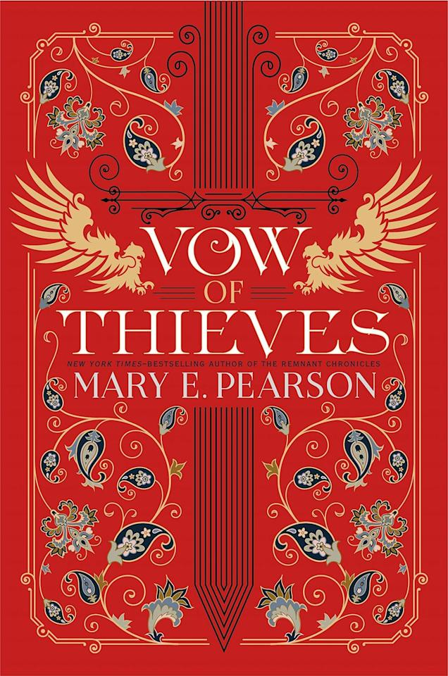 """<p>Mary E. Pearson continues to grow the world of the <em>Remnant Chronicles </em>with the sequel to <em>Dance of Thieves</em>. Kazi and Jase are back at Tor's Watch, but things aren't as they seem when they see that someone else has taken over while they were gone. They have to work together to try to find a way to get Tor's Watch back before it's too late.</p><p><strong>Release Date: </strong>August 6, 2019</p><p><a class=""""body-btn-link"""" href=""""https://www.amazon.com/Vow-Thieves-Mary-Pearson/dp/1250162653?tag=syn-yahoo-20&ascsubtag=%5Bartid%7C10065.g.25588632%5Bsrc%7Cyahoo-us"""" target=""""_blank"""">Buy It Now</a></p>"""
