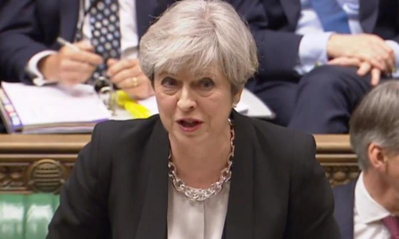 Theresa May during prime minister's questions in the Commons