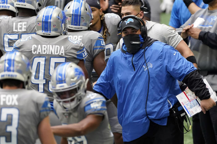 FILE - Detroit Lions head coach Matt Patricia greets players after a touchdown against the Atlanta Falcons during the first half of an NFL football game in Atlanta, in this Sunday, Oct. 25, 2020, file photo. The Lions are hosting Washington in a matchup of teams with a combined record of 5-11. Both still have plenty to play for this season. Lions coach Matt Patricia is trying to be retained for the 2021 season. (AP Photo/John Bazemore)