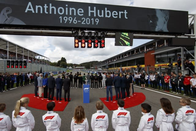 F1 drivers line up to pay tribute to Anthoine Hubert before the Belgian Grand Prix