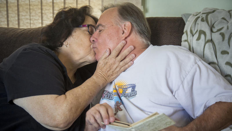 Alan Scherer, who has had Alzheimer's for the past seven years, still lives at home with wife Anne, who is his caregiver. (Rachel Mummey for HuffPost)