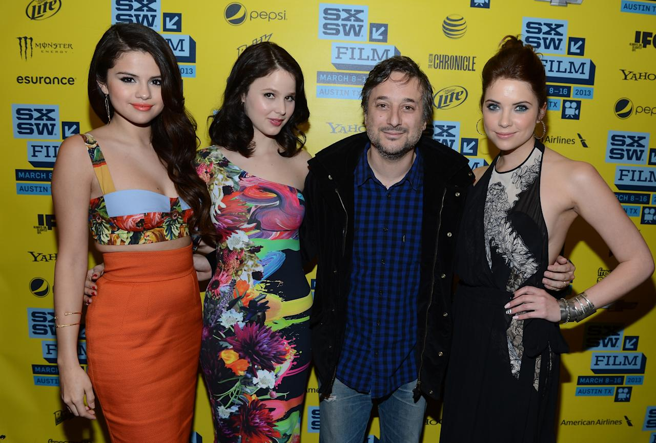 "AUSTIN, TX - MARCH 10:  (L-R) Actress Selena Gomez, actress Rachel Korine, director Harmony Korine and actress Ashley Benson attend the green room for ""Spring Breakers"" during the 2013 SXSW Music, Film + Interactive Festival""  at the Paramount Theatre on March 10, 2013 in Austin, Texas.  (Photo by Michael Buckner/Getty Images)"