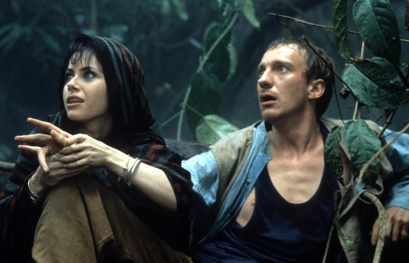 Fairuza Balk and David Thewlis in a scene from the film 'The Island Of Dr. Moreau', 1996. (Photo by New Line/Getty Images)