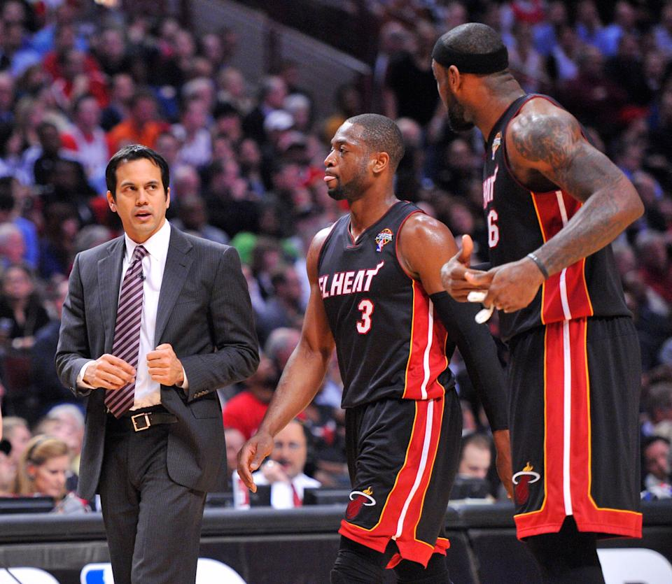In the early days of coaching Dwyane Wade (3), LeBron James and the Miami Heat, coach Erik Spoelstra heard a lot of talk that he should be fired. But he got a laugh when his assistant coaches joined the chorus.