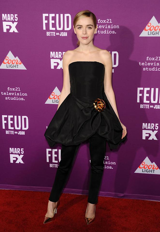 "<p>Actress Kiernan Shipka wore a black dress over pants ensemble from designer Oscar De La Renta's fall 2017 collection at the premiere of ""Feud: Bette and Joan"" on March 1, 2017 in Los Angeles. (Photo: Getty Images) </p>"
