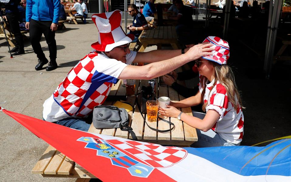 Croatia fans are seen in Glasgow ahead of the match - REUTERS