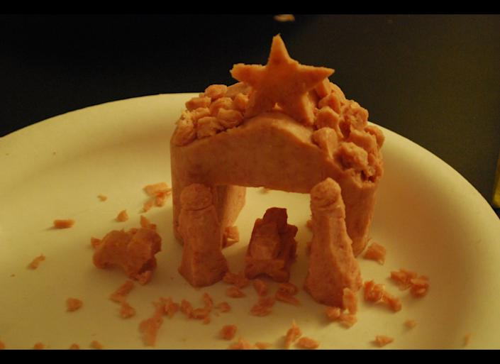 This depiction of the Bethlehem manger in spam is surely made for Monty Python fans.