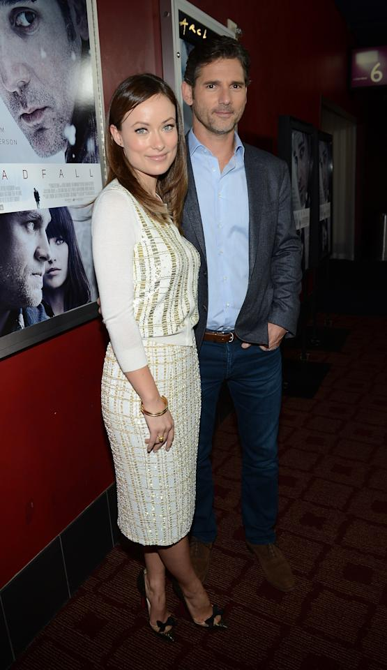 """HOLLYWOOD, CA - NOVEMBER 29:  Actress Olivia Wilde (L) and actor Eric Bana attends the premiere of Magnolia Pictures' """"Deadfall"""" at the at the ArcLight Cinemas on November 29, 2012 in Hollywood, California.  (Photo by Michael Buckner/Getty Images)"""