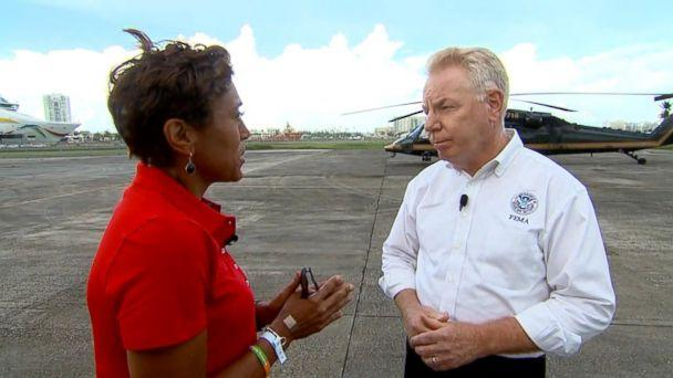 PHOTO: ABC News' Robin Roberts interviews Mike Byrne, federal coordinating officer for FEMA, about recovery efforts in Puerto Rico. (ABC News)