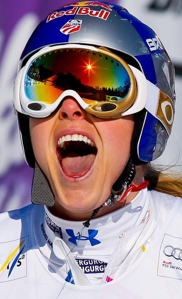 OFTERSCHWANG, GERMANY - MARCH 03: (FRANCE OUT) Lindsey Vonn of the USA takes 2nd place during the Audi FIS Alpine Ski World Cup Women's Giant Slalom on March 3, 2012 in Ofterschwang, Germany. (Photo by Stanko Gruden/Agence Zoom/Getty Images)