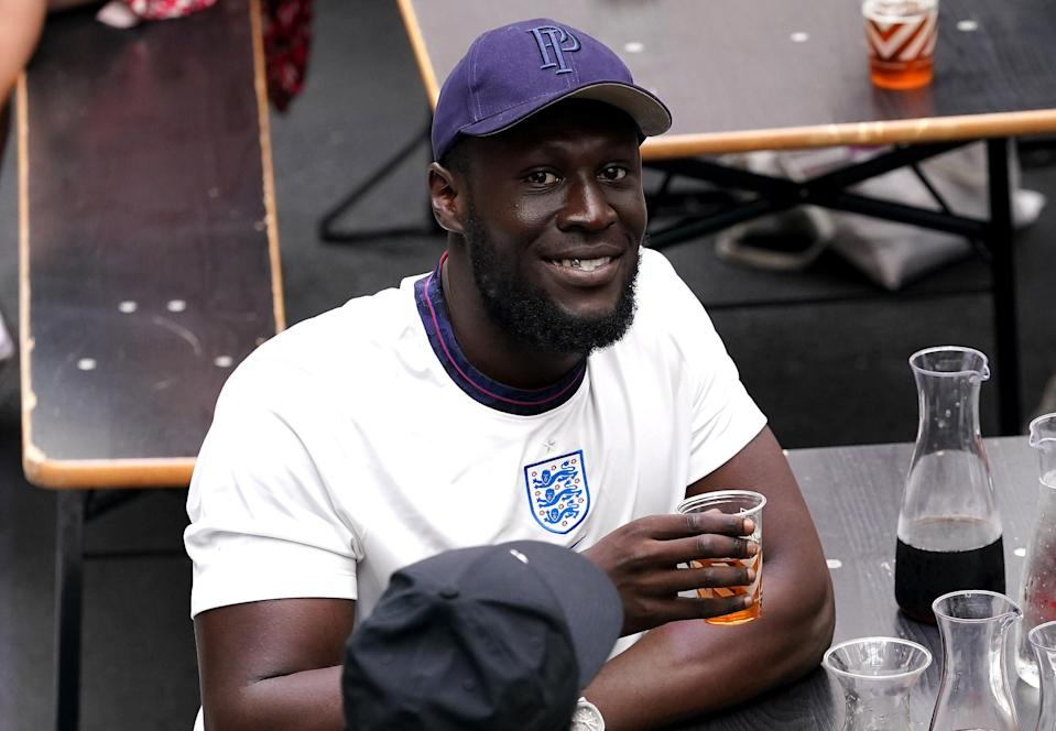 Rapper Stormzy was watching the game among other England fans at BOXPARK Wembley (PA)